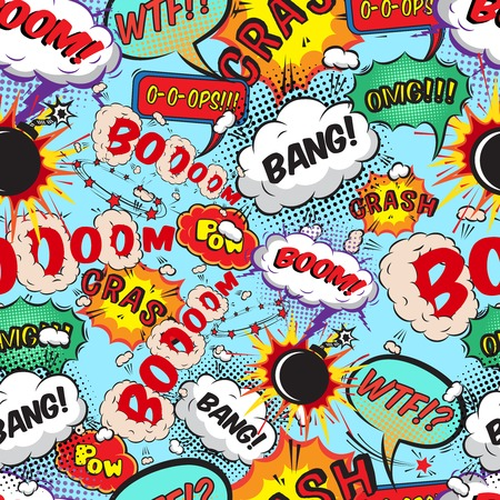 Ilustración de Seamless pattern comic speech bubbles illustration - Imagen libre de derechos