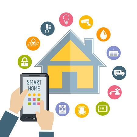 Ilustración de Hand holding mobile phone tablet controls smart home temperature water light security technology flat concept illustration - Imagen libre de derechos