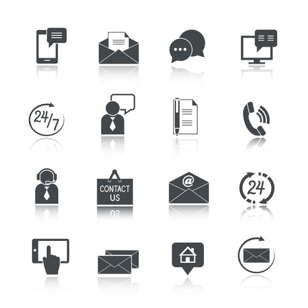 Illustration pour Contact us service icons set of email phone communication and representative person isolated vector illustration - image libre de droit