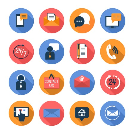 Illustration pour Customer care contacts flat icons set of online and offline support services isolated vector illustration - image libre de droit