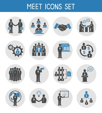 Illustration pour Flat business people meeting icons set of management and leadership isolated vector illustration - image libre de droit