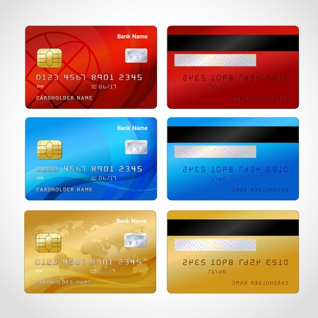 Illustration for Realistic credit cards set isolated vector illustration - Royalty Free Image