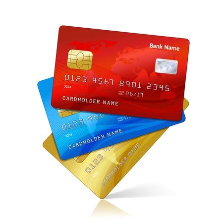 Ilustración de Realistic credit cards collection with reflection isolated vector illustration - Imagen libre de derechos
