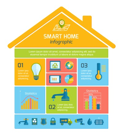Illustration pour Smart home automation technology infographics utilities icons and elements with graphs and charts design layout illustration - image libre de droit