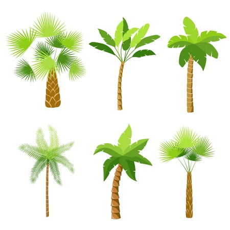 Ilustración de Decorative palm trees icons set isolated illustration - Imagen libre de derechos
