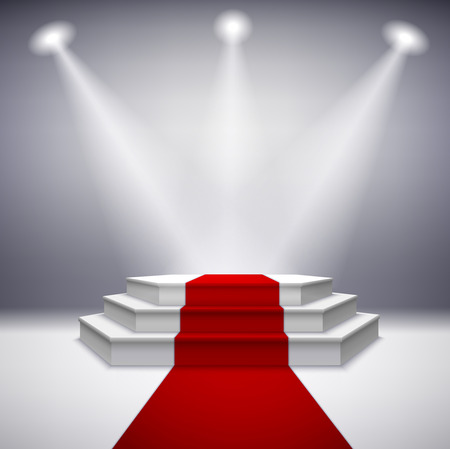 Illustration pour Illuminated stage podium with red carpet for award ceremony illustration - image libre de droit