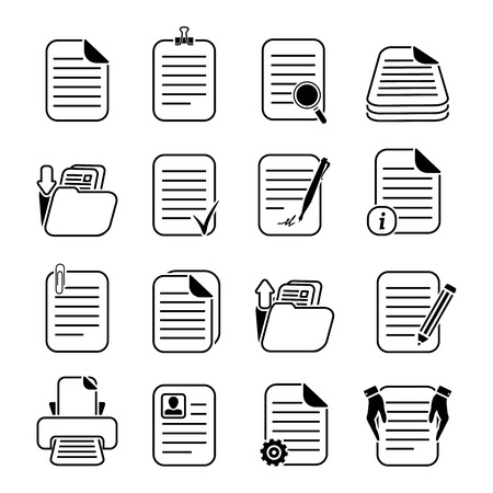 Illustration pour Documents paper and files written or printed icons set isolated  - image libre de droit