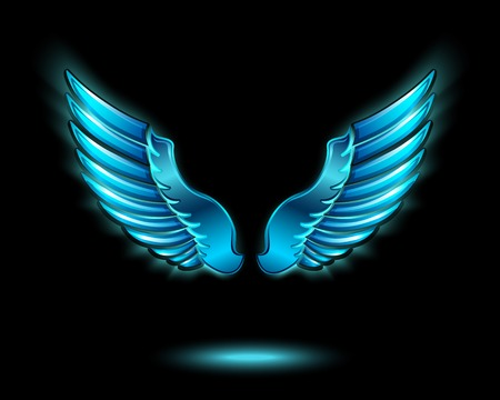 Illustration for Blue glowing angel wings with metal shine and shadow symbol  - Royalty Free Image