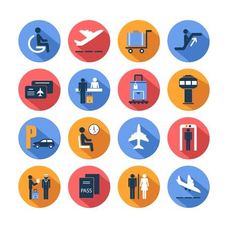 Illustration pour Colored airport transportation flat icons set with staff suitcase lounge cart isolated - image libre de droit
