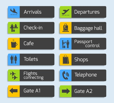 Illustration pour Airport navigation design signboard set with plane arrival departure passport and luggage control icons isolated  - image libre de droit
