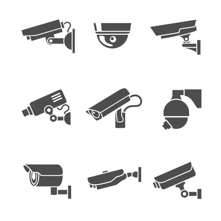 Illustration pour Video surveillance security cameras graphic pictograms set isolated vector illustration - image libre de droit