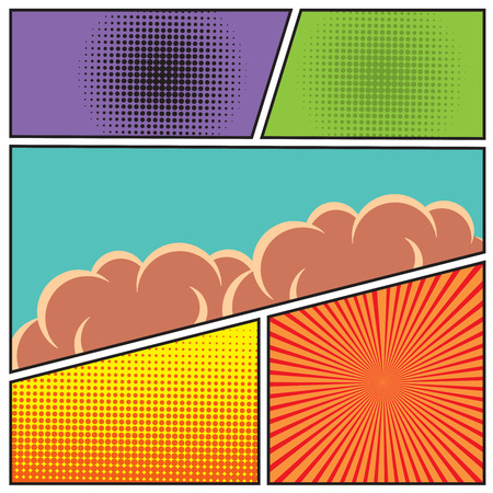 Illustration pour Comics pop art style blank layout template with clouds beams and dots pattern background vector illustration - image libre de droit