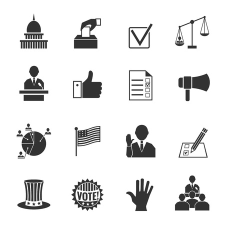 Illustration pour Elections and voting icons set with ballot box check signs and flags isolated vector illustration - image libre de droit