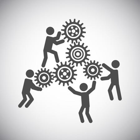 Ilustración de Gear cog wheels teamwork working people collaboration concept vector illustration - Imagen libre de derechos