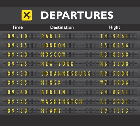Illustration pour Airport departure arrival destination mechanical analog old style counter board template vector illustration - image libre de droit