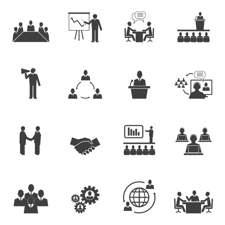 Ilustración de Business people online meeting strategic pictograms set of presentation online conference and teamwork isolated vector illustration - Imagen libre de derechos