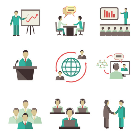 Illustration pour Business people online global discussions teamwork collaboration, meetings and presentations concept icons set isolated vector illustration - image libre de droit