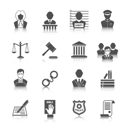 Illustration pour Law legal justice judge and legislation icons set with scales court gavel isolated vector illustration - image libre de droit