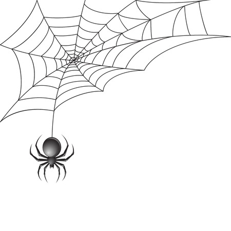 Ilustración de Black scary spider insect with web background  - Imagen libre de derechos