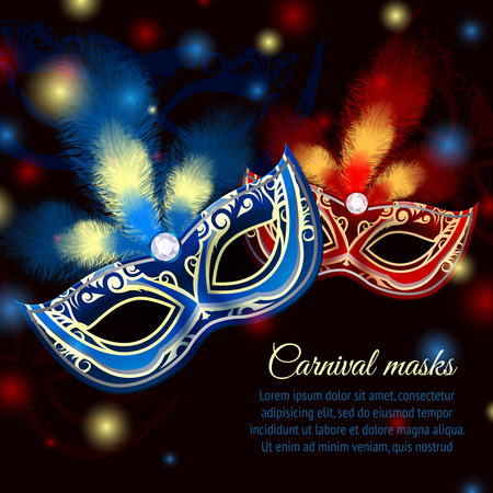 Illustration pour Venetian carnival mardi gras colorful party mask on dark sparkling background vector illustration - image libre de droit