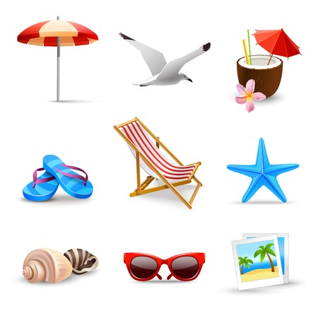 Illustration for Realistic summer holidays seaside beach icons set isolated vector illustration - Royalty Free Image