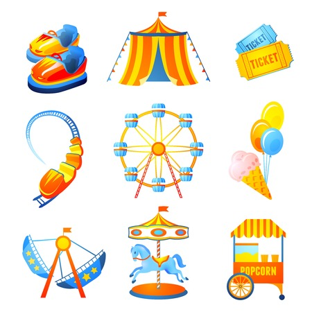 Illustration pour Amusement entertainment park icons set with ferris wheel rollercoaster marry-go-round isolated vector illustration - image libre de droit