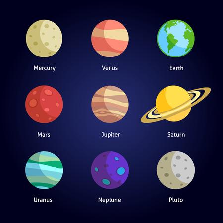 Illustration pour Solar system planets decorative icons set isolated on dark background  - image libre de droit