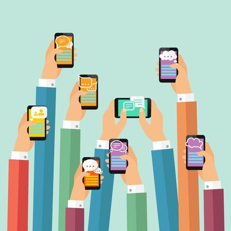 Illustration pour Modern mobile instant messenger chat poster with hands and smartphones vector illustration - image libre de droit