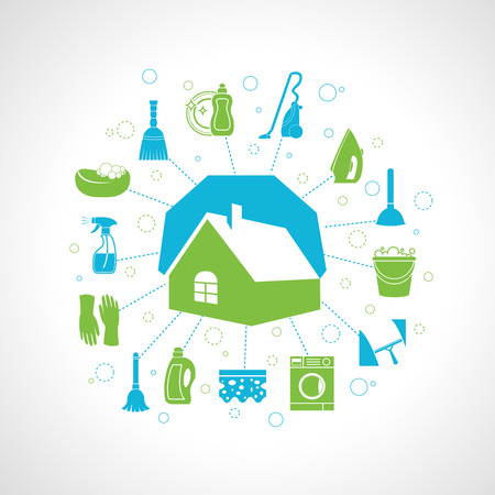 Illustration for Cleaning washing concept with house and housework icons set vector illustration - Royalty Free Image