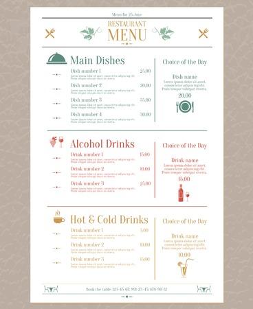 Illustration pour Elegant restaurant menu list with decorative elements vector illustration - image libre de droit