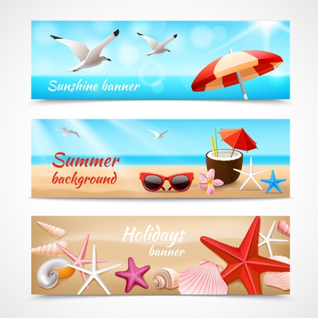Illustration pour Summer holidays beach labels with seagull cocktail sea shell vector illustration - image libre de droit