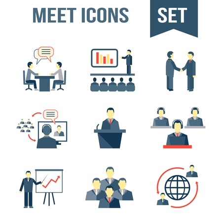 Illustration pour Business people meeting partners online and offline conference and presentation icons set isolated vector illustration - image libre de droit