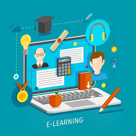 Illustration pour Education school university e-learning flat concept with laptop and graduation icons vector illustration. - image libre de droit
