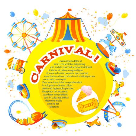 Illustration pour Amusement entertainment carnival theme park design invitation flyer vector illustration - image libre de droit