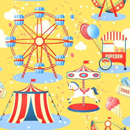 Illustration pour Amusement entertainment park seamless pattern with ferris wheel ice cream popcorn vector illustration - image libre de droit
