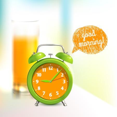 Illustration for Alarm clock and orange juice glass good morning background vector illustration - Royalty Free Image