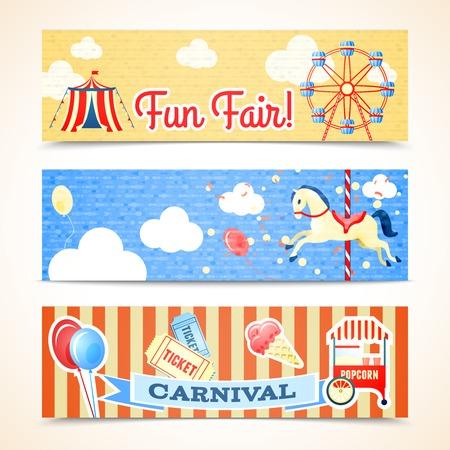 Illustration pour Vintage retro carnival fun fair vertical banners isolated vector illustration - image libre de droit