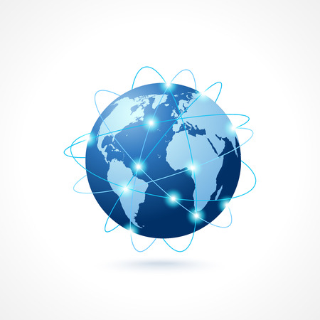 Ilustración de Network globe sphere earth map icon social media technology concept vector illustration - Imagen libre de derechos