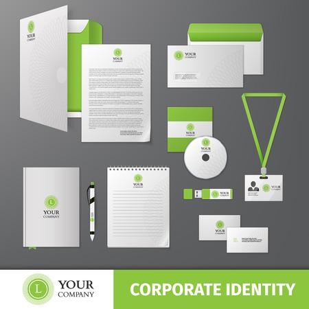 Ilustración de Green geometric business company stationery template for corporate identity and branding set isolated vector illustration - Imagen libre de derechos