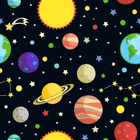 Illustration pour Space seamless pattern with planets stars comets and constellations on dark background vector illustration - image libre de droit