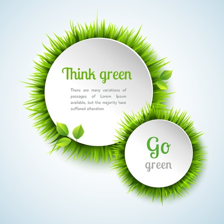 Illustration pour Go green concept with summer grass circle decoration frame design vector illustration - image libre de droit