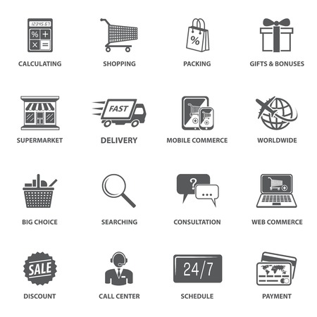 Ilustración de E-commerce shopping icons set of calculating packing delivery payment elements vector illustration - Imagen libre de derechos