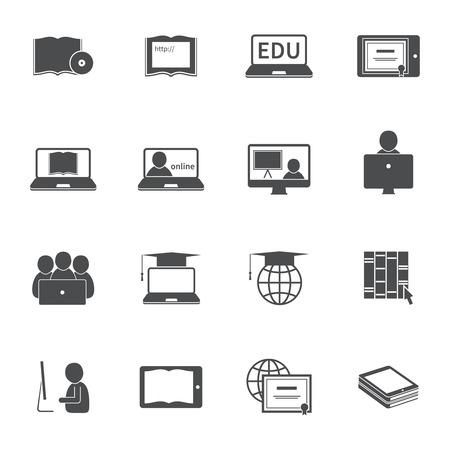 Illustration pour Online education e-learning silhouette video tutorial training icons set vector illustration - image libre de droit