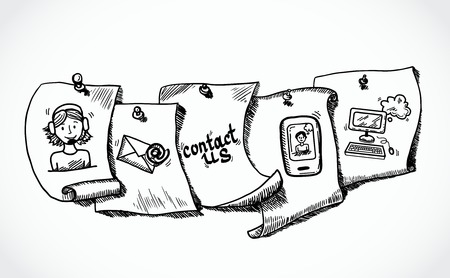 Illustration pour Contact us phone customer service user support paper icons tags sketch set vector illustration - image libre de droit