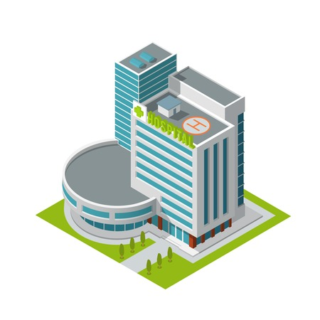 Illustration pour Modern 3d urban hospital building with helipad on the roof isometric isolated vector illustration - image libre de droit