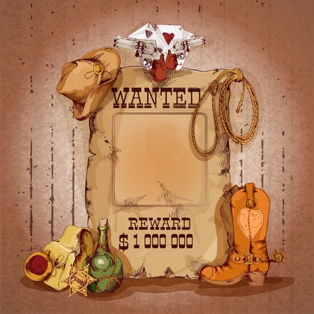 Illustration pour Wild west wanted man for reward poster with cowboy elements vector illustration - image libre de droit
