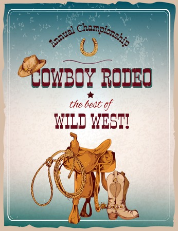 Illustration pour Wild west cowboy colored hand drawn rodeo poster vector illustration - image libre de droit