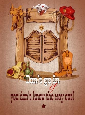 Ilustración de Wild west saloon door poster with cowboy boots hat saddle vector illustration - Imagen libre de derechos