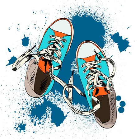 Ilustración de Colored funky gumshoes fashion sneakers grunge style with ink splash background vector illustration. - Imagen libre de derechos