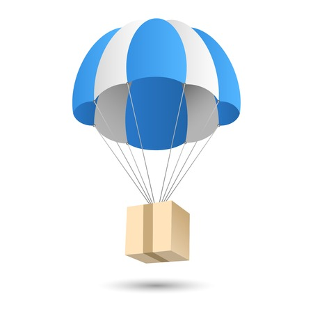 Illustration pour Parachute gift box package aerial post delivery emblem icon vector illustration - image libre de droit